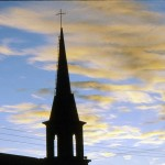 Church steeple at dawn in Creel near Copper Canyon