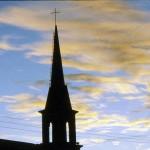 Church steeple at dawn in Creel near Copper Canyon